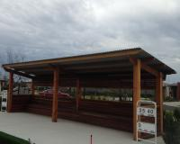 timber pergola with timber seating for melbourne bowling club