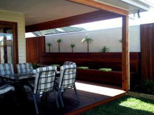 Timber deck and Pergola with Seating for outdoor entertaining in melbourne