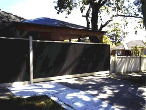 colorbond fence with automatic sliding gate in melbourne