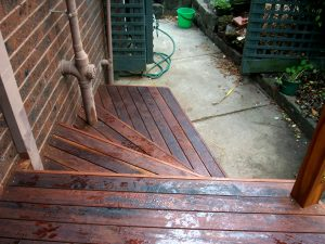 steps using merbau timber in backyard in south eastern suburbs of melbourne