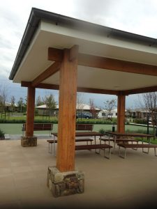 timber picnic shelter in retirement village in bayside suburb of melbourne