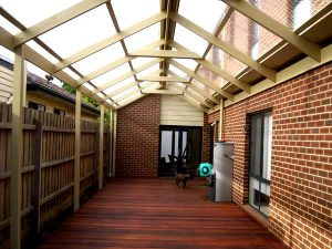 merbau timber deck with timber gable roof pergola in bayside suburb of melbourne