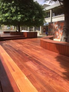 timber decking with outdoor timber seating for shopping centre in bayside suburb of melbourne