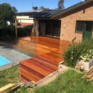 decking with glass pool fence eltham
