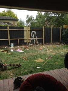 Pool fence under construction