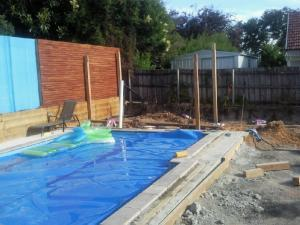 Pool house and timber decking under construction