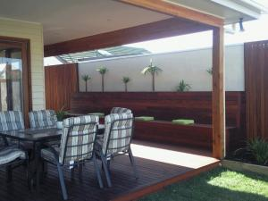 Timber deck and pergola with seating