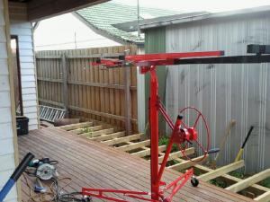 Timber deck under construction