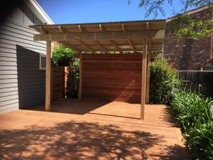 Timber deck with pergola for shade