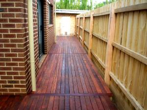 Timber decking for side courtyard