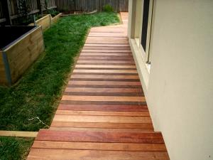 Timber pathway decking in backyard
