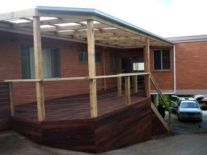 Timber pergola on steep sloping block