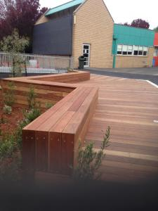 Timber seats and decking