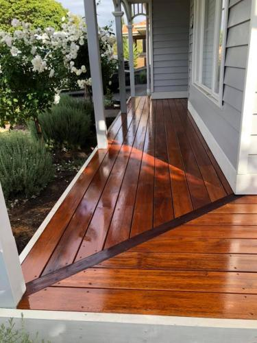 New deck for front verandah that is freshly oiled