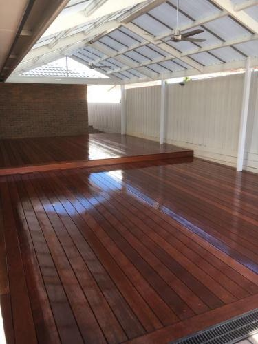 Timber decking for large outdoor room