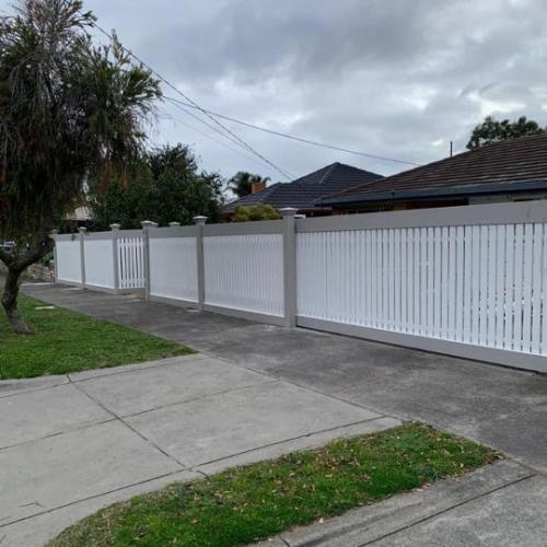 Picket fence white and grey