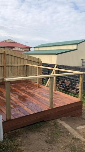 timber deck with railing
