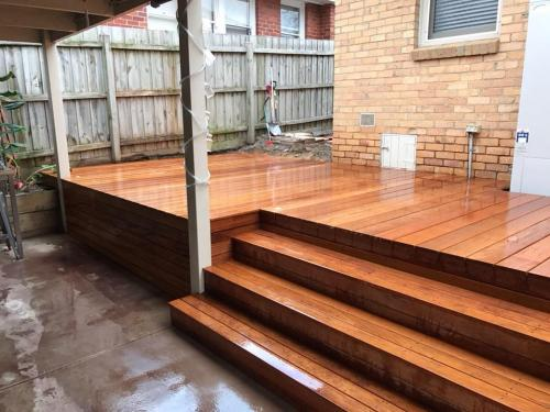 Timber decking leading into covered area