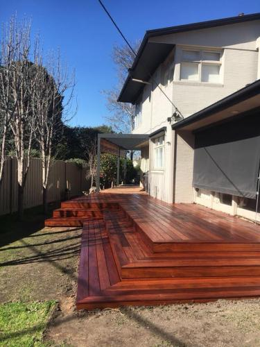 Timber decking with steps