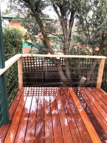 Timber decking with railing