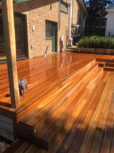Timber decking leading from house to backyard
