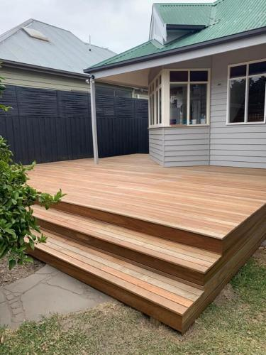 Timber decking for weatherboard house